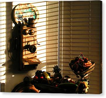 Canvas Print featuring the photograph Phone And Fruit by Craig T Burgwardt
