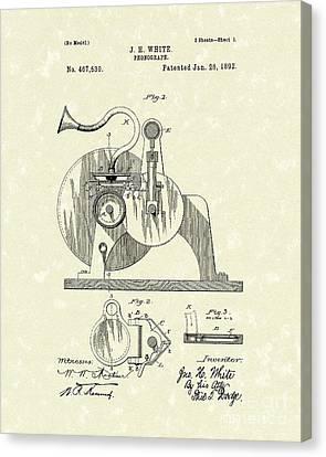 Phonograph 1892 Patent Art Canvas Print by Prior Art Design