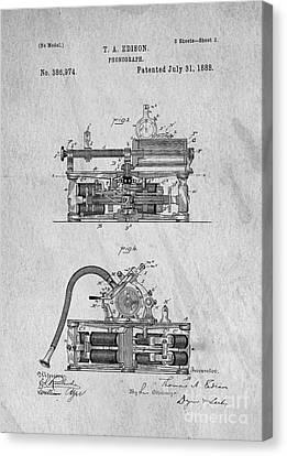 Phonograph Patent 1888 Thomas Edison Canvas Print by Edward Fielding