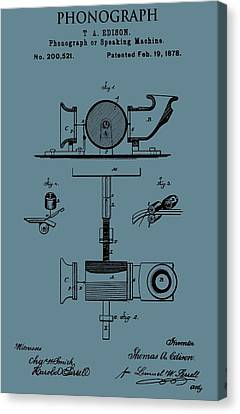 Phonograph Patent On Blue Canvas Print
