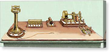 Phonoplex Telegraph Invented By Thomas Canvas Print by Prisma Archivo