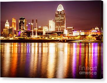Photo Of Cincinnati Skyline At Night Canvas Print by Paul Velgos