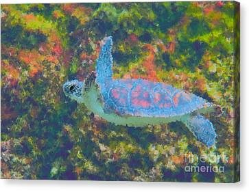Photo Painting Of Sea Turtle Canvas Print by Dan Friend
