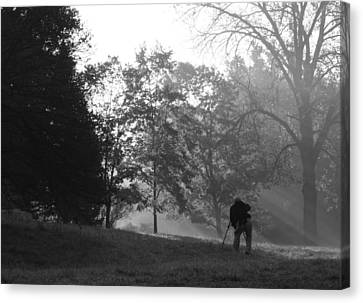 Canvas Print featuring the photograph Photographer In The Mist by Ed Cilley