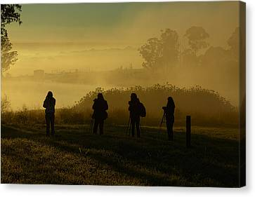 Photographers In The Mist Canvas Print