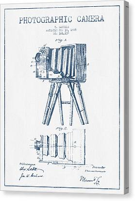 Photographic Camera Patent Drawing From 1885- Blue Ink Canvas Print by Aged Pixel