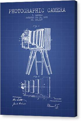 Photographic Camera Patent From 1885 - Blueprint Canvas Print by Aged Pixel
