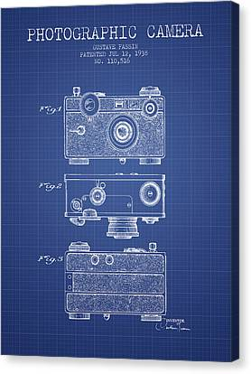 Photographic Camera Patent From 1938 - Blueprint Canvas Print