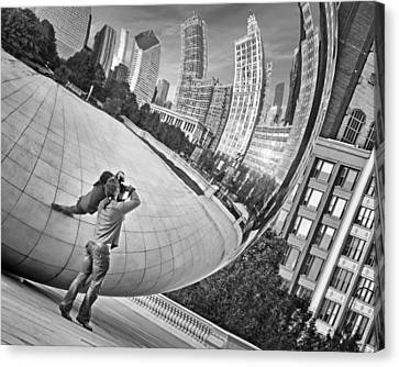 Photographing The Bean - Cloud Gate - Chicago Canvas Print by Nikolyn McDonald