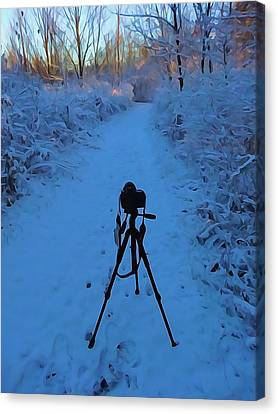 Photography In The Winter Canvas Print by Dan Sproul