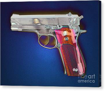 Terrorist Canvas Print - Photomontage Of 9mm Gun by Scott Camazine