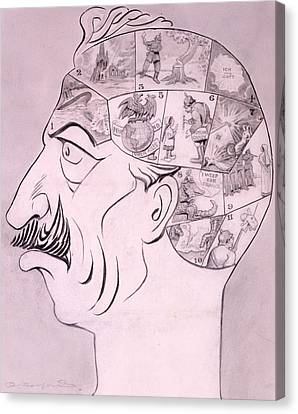 Phrenological Chart Of The German Canvas Print by Oliver Herford