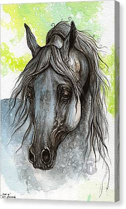 Piaff Polish Arabian Horse Watercolor  Painting 1 Canvas Print by Angel  Tarantella