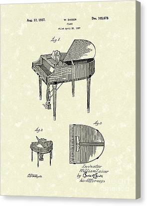 Piano Canvas Print - Piano 1937 Patent Art by Prior Art Design
