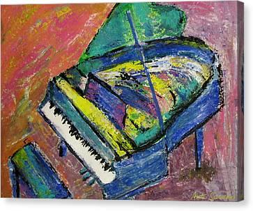 Piano Canvas Print - Piano Blue by Anita Burgermeister