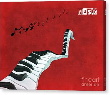 Surrealist Canvas Print - Piano Fun - S01at01 by Variance Collections