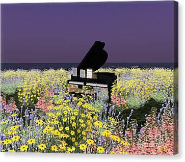 Canvas Print featuring the digital art Piano In Spring by Susanne Baumann