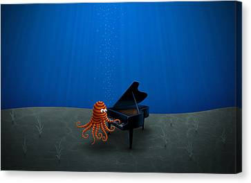 Piano Playing Octopus Canvas Print by Gianfranco Weiss