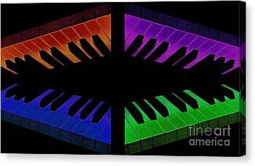 Piano Round Canvas Print by Andee Design