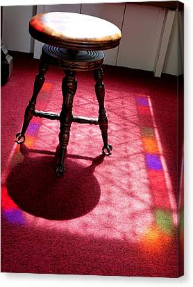 Piano Stool And Rainbow Light Canvas Print