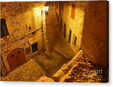 Piazza By Night In Tuscany Canvas Print by Ramona Matei