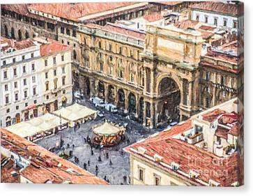 Piazza Della Repubblica Canvas Print by Liz Leyden