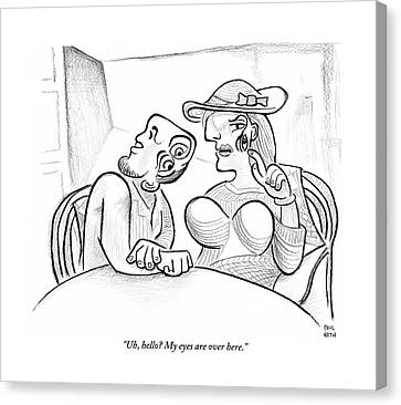 Picasso Canvas Print - Picasso-esque Woman Speaks To Picasso-esque Man by Paul Noth
