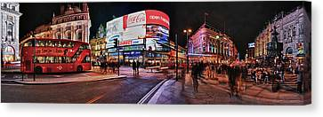 Piccadilly Circus At Night, London Canvas Print