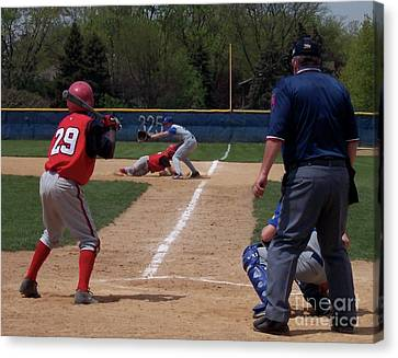 Pick Off Attempt At 1st Base Canvas Print by Thomas Woolworth
