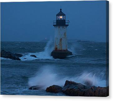 Pickering Lighthouse Hit By Storm Surge Canvas Print