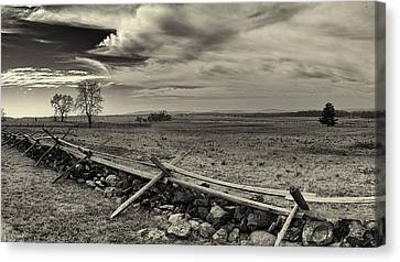 Picketts Charge The Angle Black And White Canvas Print