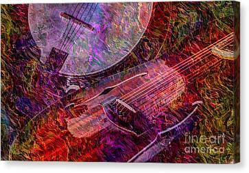 Pickin And A Grinnin Digital Banjo And Guitar Art By Steven Langston Canvas Print by Steven Lebron Langston
