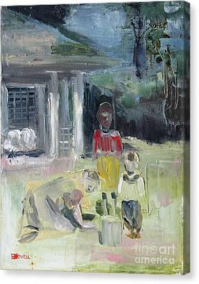 Pickin' Up Pecans Canvas Print by Ellen Howell