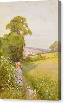 Picking Flowers  Canvas Print by Thomas Frederick Mason Sheard