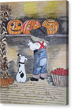 Picking Out The Halloween Pumpkin Canvas Print by Kathy Marrs Chandler