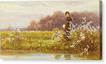 Picking Primroses Canvas Print by Thomas James Lloyd