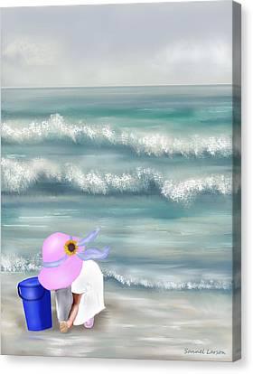 Picking Sea Shells  Canvas Print