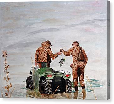Picking Up The Decoys Canvas Print by Kevin Callahan