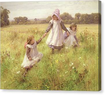 Picking Canvas Print - Picking Wild Flowers by William Affleck