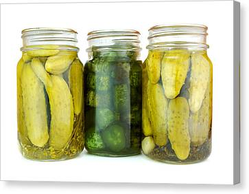 Pickle Jars Canvas Print by Jim Hughes