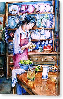 Canvas Print featuring the painting Pickling Pears  by Trudi Doyle