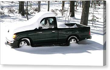Canvas Print featuring the photograph Pickup In The Snow by Pamela Hyde Wilson
