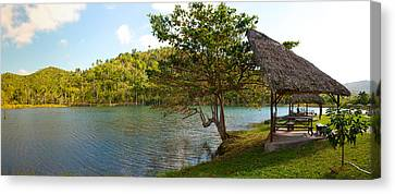Picnic Area At Pond, Las Terrazas Canvas Print by Panoramic Images