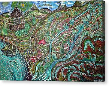 Picnic By The Lake Canvas Print by Matthew  James