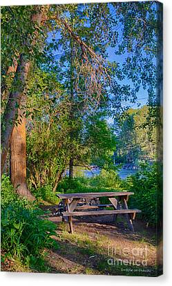 Picnic By The Methow River Canvas Print
