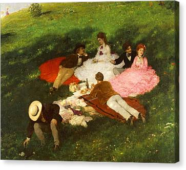 Picnic In May Canvas Print by Pal Szinyei Merse