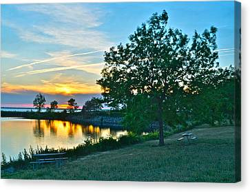 Picnic Lake Canvas Print by Frozen in Time Fine Art Photography