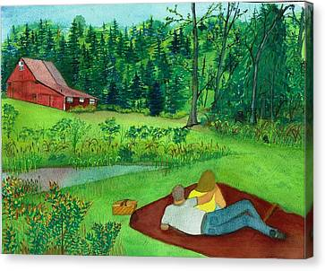 Picnic On The Farm Canvas Print