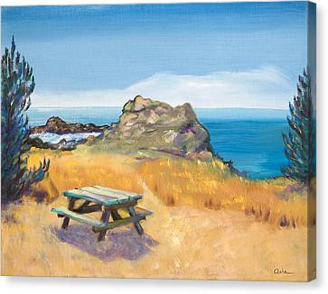 Canvas Print featuring the painting Picnic Table And Ocean With Yellow Field by Asha Carolyn Young