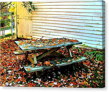 Picnic Table In Autumn Canvas Print by Julie Dant